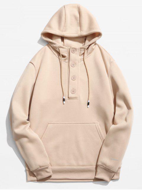 women's Buttons Embellished Fleece Hoodie - KHAKI XS Mobile