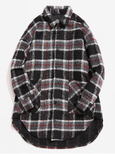 outfits Single Breasted Plaid Pattern Woolen Coat - GRAY L Mobile