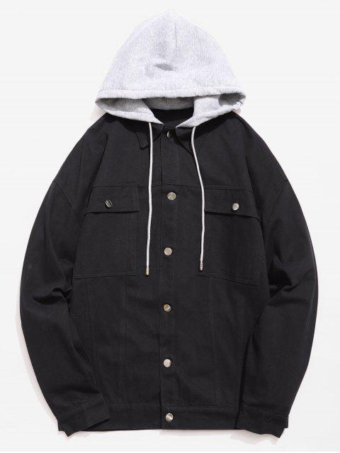 affordable Multi Pockets Design Single Breasted Hooded Jacket - BLACK 3XL Mobile