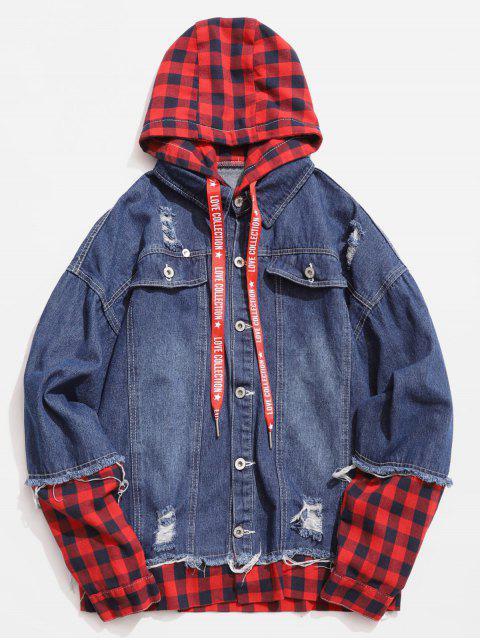 shops Plaid Spliced Hooded Distressed Denim Jacket - DEEP BLUE 2XL Mobile