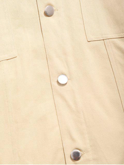best Multi Pockets Design Single Breasted Hooded Jacket - CORNSILK L Mobile