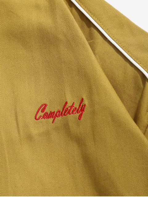 new Zip Up Letter Embroidery Cargo Jacket - YELLOW M Mobile