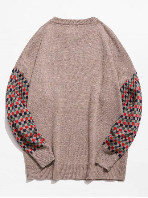 new Colorful Checked Patch Knitted Sweater - CAMEL BROWN L Mobile