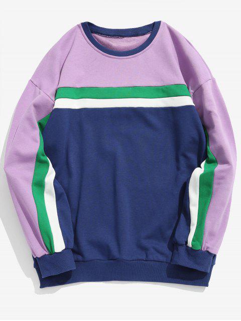 Sudadera Casual Color Block Stripe - Color de malva XL Mobile
