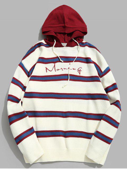 Suéter de punto con capucha y carta bordada a rayas en contraste - Rojo Lava L Mobile