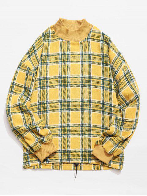 Lässiges kariertes Woolen Sweatshirt - Niedliches Gummi Gelb L Mobile