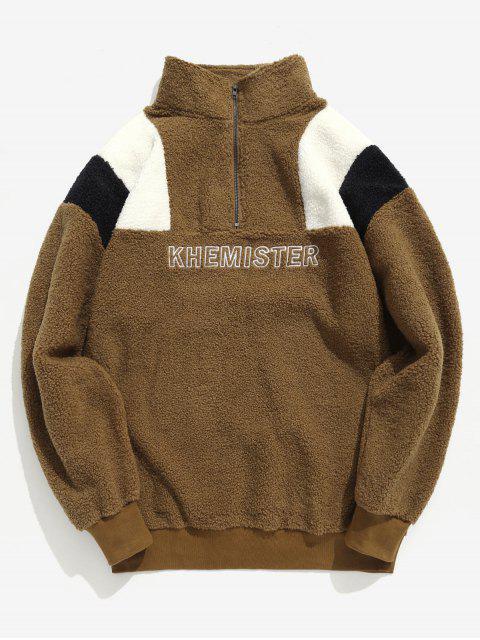 Half Zip Brief Kontrast flauschige Sweatshirt - Tiefes Braun XL Mobile