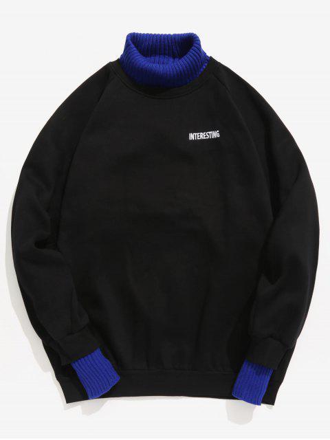 Edge Patchwork Kontrast Fleece Sweatshirt - Schwarz L Mobile