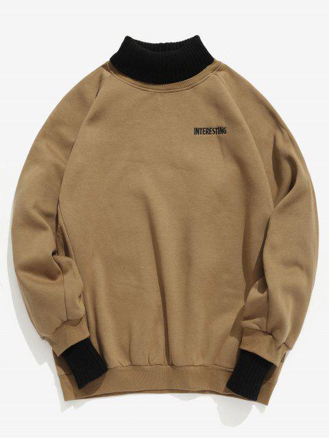 Sweat-shirt Contrasté à Brodure Patchwork en Laine - Caramel M Mobile