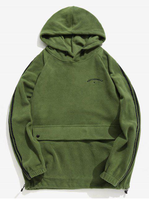 Seitlicher Streifen-Taschen-flaumiger Hoodie - Farngrün L Mobile