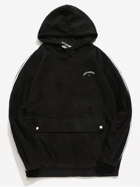 Seitlicher Streifen-Taschen-flaumiger Hoodie - Schwarz L Mobile