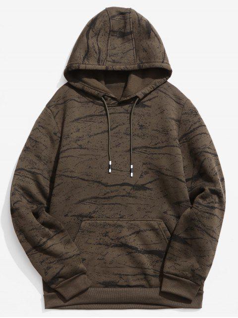 Sudadera con capucha estampada de mármol - Marrón Oscuro S Mobile