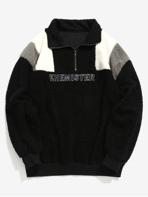 Half Zip Brief Kontrast flauschige Sweatshirt - Schwarz L Mobile