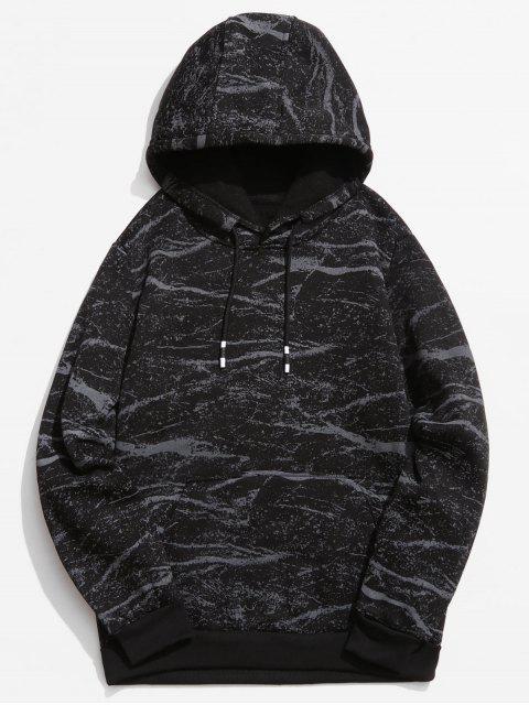 Sudadera con capucha estampada de mármol - Negro S Mobile