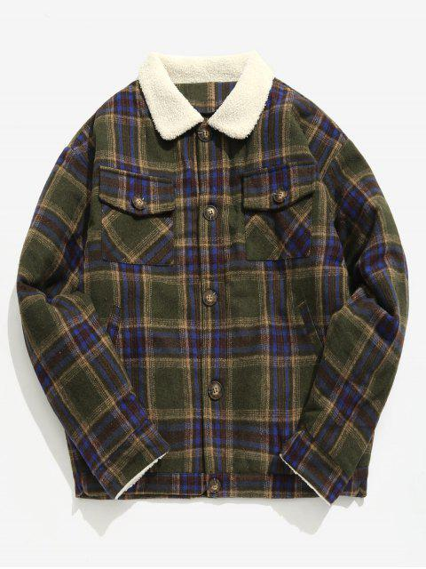 Edge Flauschige Plaid Woolen Jacke - Armeegrün M Mobile