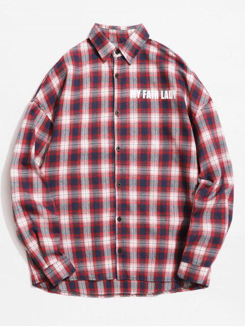 Chemise à carreaux avec lettres réfléchissantes - Châtaigne Rouge 2XL Mobile