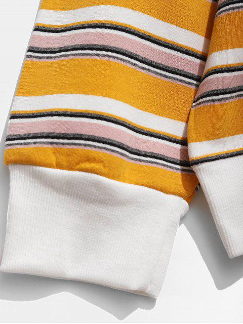 trendy Contrast Stripe Fleece Sweatshirt - BEE YELLOW M Mobile