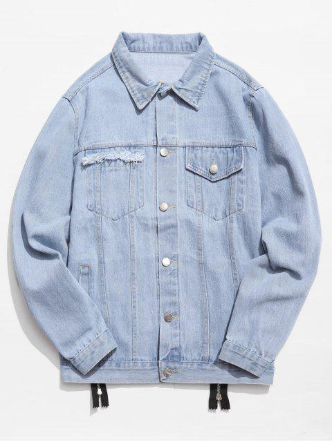 buy Graphic Zipper Patchwork Denim Jacket - DENIM BLUE XL Mobile