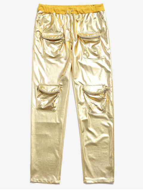 Pantalon Cargo de Jogging Métallique Zippé avec Poches à Cordon - Jaune 2XL Mobile