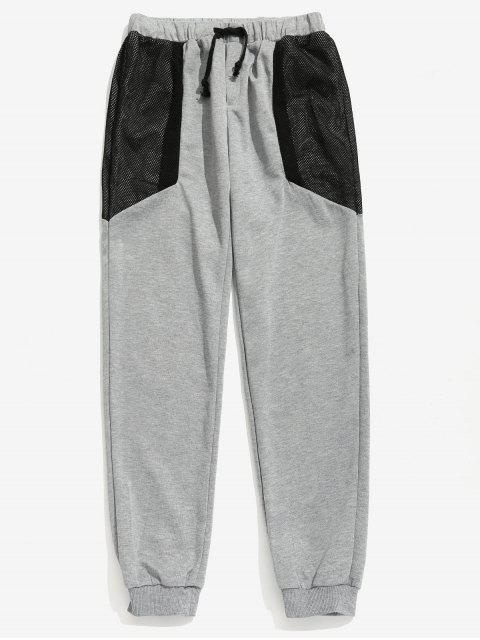 Pantalon Panneau en Maille Taille à Cordon - Gris 2XL Mobile