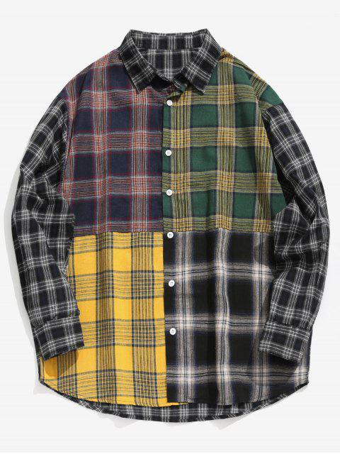 affordable Contrast Plaid Patchwork Shirt - BLACK M Mobile
