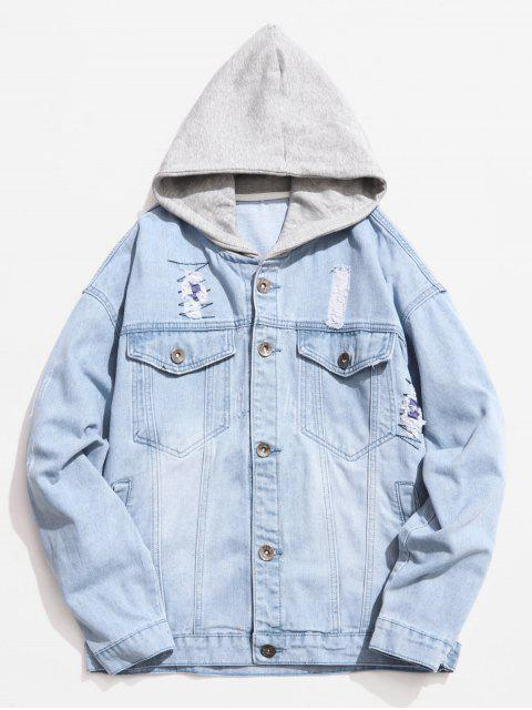 women's Hooded Button Fly Ripped Denim Jacket - PASTEL BLUE M Mobile