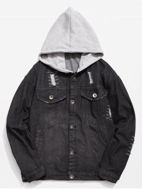 latest Hooded Button Fly Ripped Denim Jacket - BLACK M Mobile