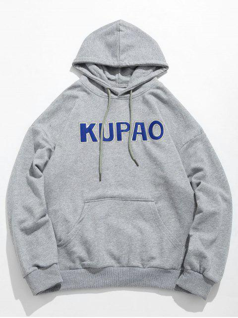 online Front Pocket Letter Embroidery Hoodie - GRAY CLOUD XL Mobile