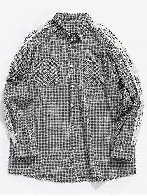 new Side Letter Stripe Patchwork Plaid Shirt - GRAY XL Mobile