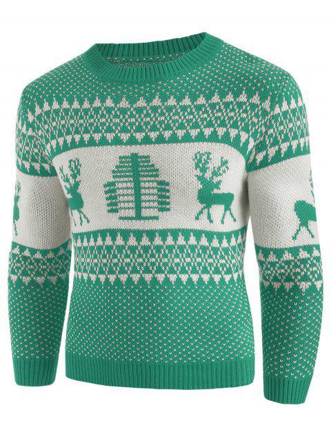 Suéter con cuello redondo y estampado de ciervos de navidad - Manzana Verde 2XL Mobile