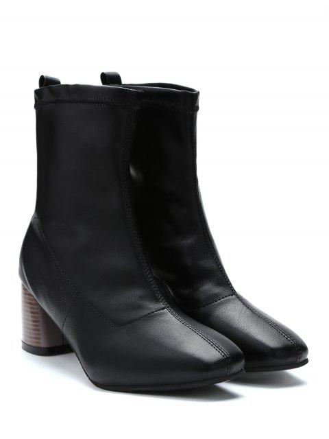 latest Chunky Heel Slip-on Short Boots - BLACK EU 37 Mobile