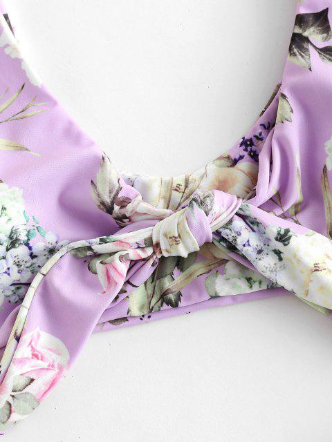 outfits ZAFUL Flower Tied Plunging Bikini Set - MAUVE L Mobile