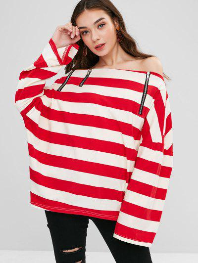 Off Shoulder Zipped Striped Oversized Top