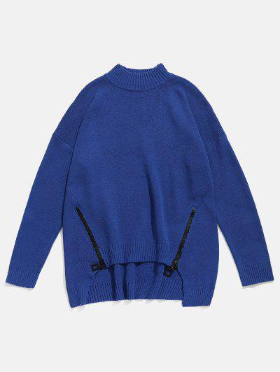 Zipper Embellished High Low Hem Sweater - Cadetblue 4xl