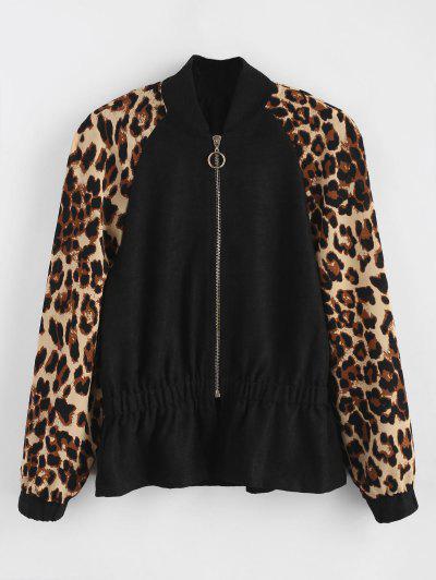 Ruffle Hem Leopard Sleeves Jacket