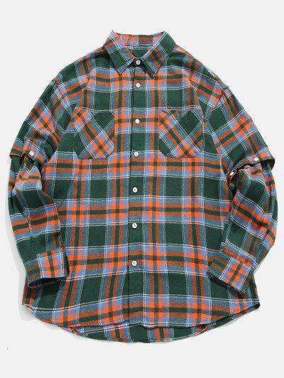 Plaid Convertible Sleeve Shirt