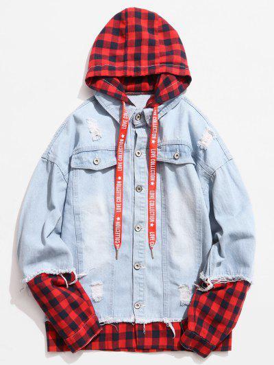 Plaid Spliced Hooded Distressed Denim Jacket - Light Blue L