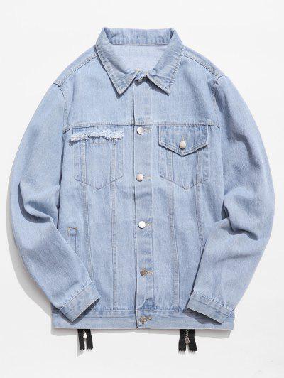 Graphic Zipper Patchwork Denim Jacket - Denim Blue M