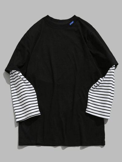 15f7d372131a Gestreiftes Brief-falsches Zweiteiliges T-Shirt - Schwarz Xl