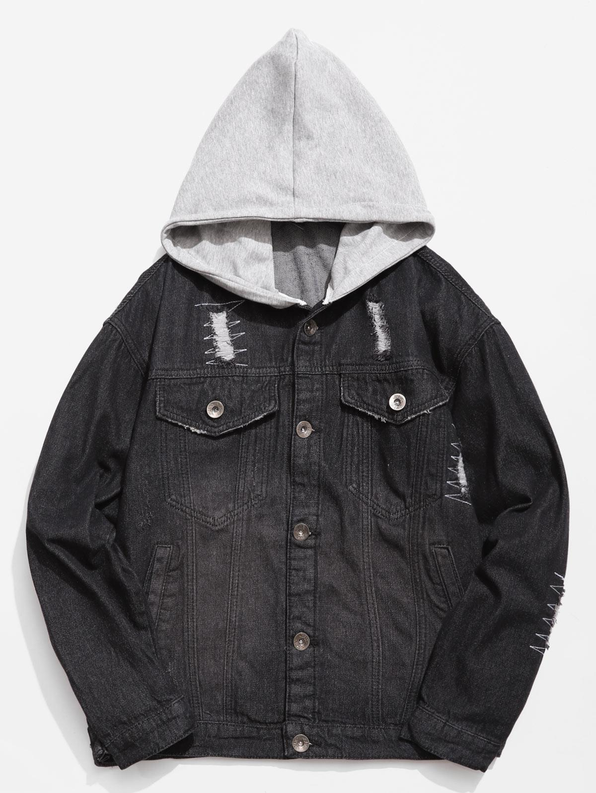 Hooded Button Fly Ripped Denim Jacket, Black
