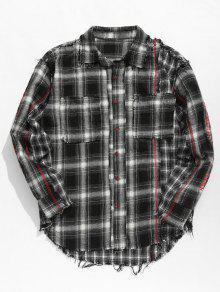 الشرابة منقوشة قميص المرقعة - أسود L