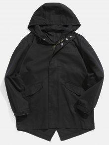 معطف هو هيم ذو حافة منخفضة - أسود 4xl