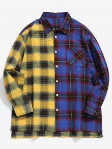 قميص لون كتلة جيب منقوشة - أزرق M