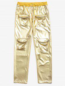 سروال معدني الرباط سستة جيوب - الأصفر 2xl
