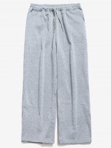 الرباط الخصر سروال واسع الساق - اللون الرمادي Xl