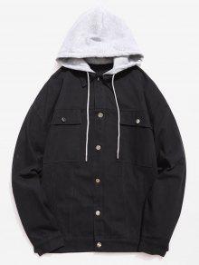 جيوب متعددة تصميم سترة مقنعين الصدر واحدة - أسود Xl