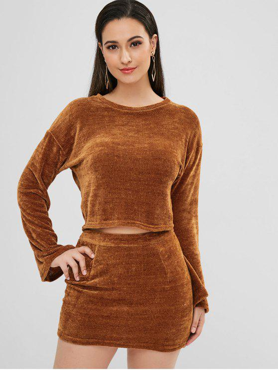 chic ZAFUL Plain Velvet Top and Skirt Set - BROWN XL