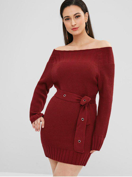 fashion Off Shoulder Belted Mini Sweater Dress - RED WINE ONE SIZE