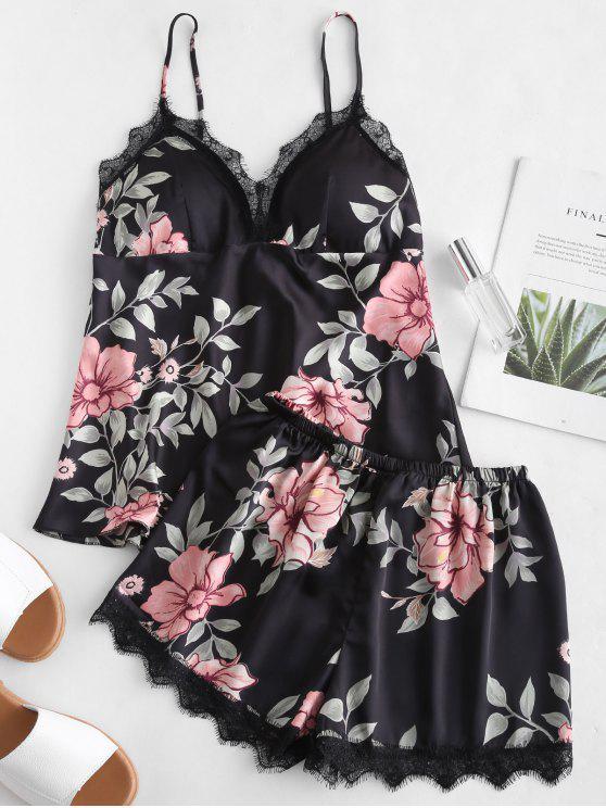Conjunto de pijama con ribete de encaje de flores satinadas - Negro L