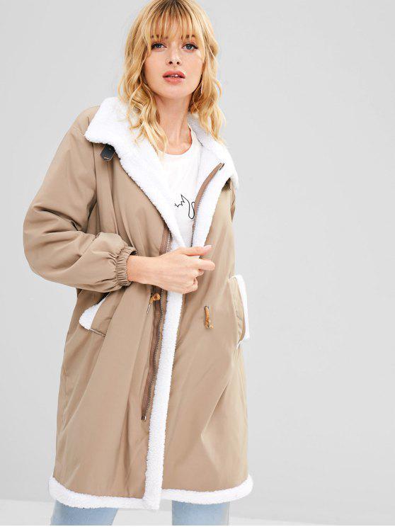 lady Fleece Drawstring Waist Loose Coat - LIGHT KHAKI XL